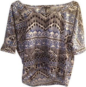 INC International Concepts Quarter Sleeve Hi Lo Top Blue Black Tribal
