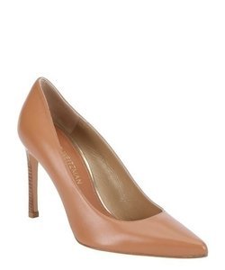 Stuart Weitzman Leather Upper Leather Sole Leather Lining Stacked Heel Stiletto Camel, Caramel Pumps