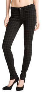 Rich & Skinny & Houndstooth Print Stretchy Skinny Jeans-Coated