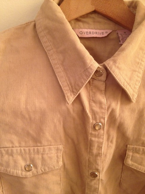 Overdrive Moonstone Corduroy Western Button Down Shirt Camel