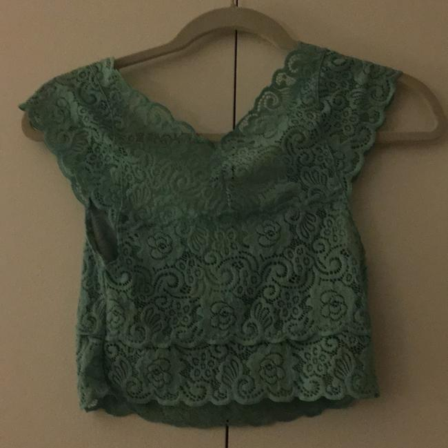 Free People Button Down Shirt Teal/Mint Image 1