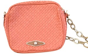 Elliott Lucca Woven Leather Pink Red Cross Body Bag