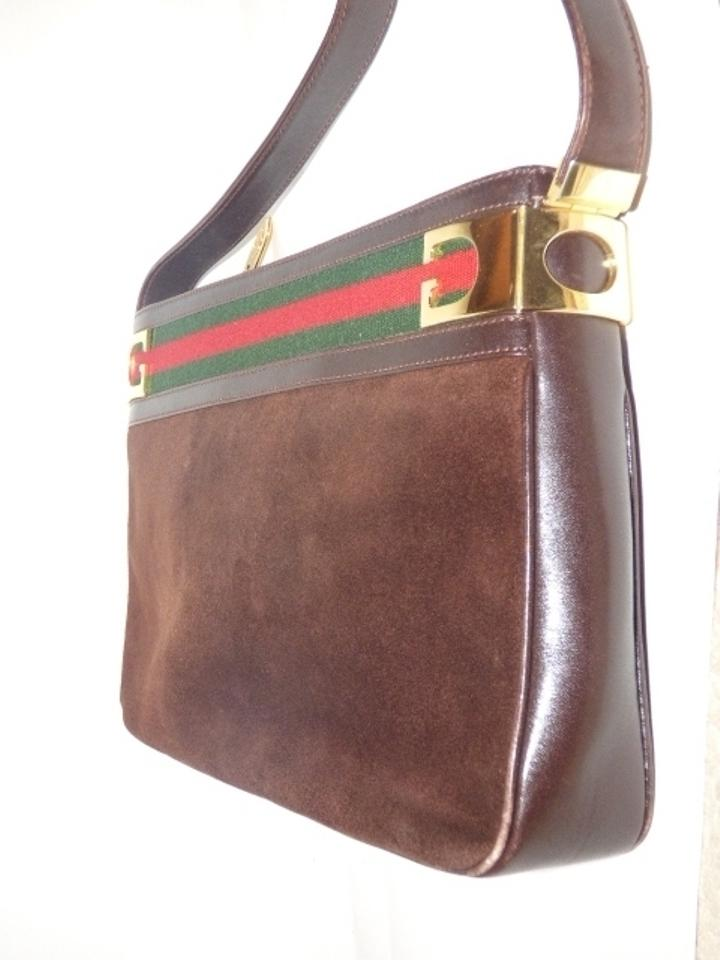 98cdf53435b Gucci Vintage Purses Designer Purses Brown Suede and Leather with Red   Green  Striped Top Hobo Bag - Tradesy