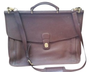 Coach Briefcase Strap Briefcase Leather Vintage Dark brown Travel Bag