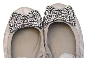 REPORT Metallic Bow Sparkle Vegan Silver and Pink Flats
