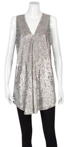 Alice + Olivia Sequin Vest Draped Tunic Handkerchief Hem Top silver