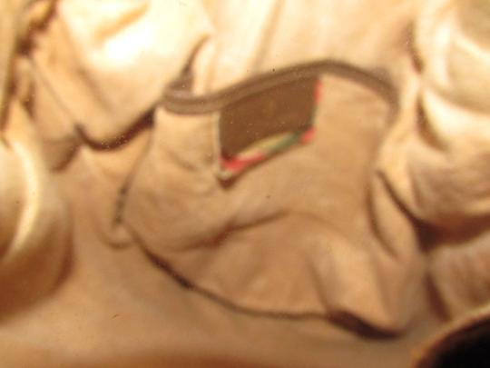 Gucci Drawstring Red/Green Excellent Vintage Bucket Satchel in brown in large G logo print coated canvas and brown leather with red and green accents Image 5