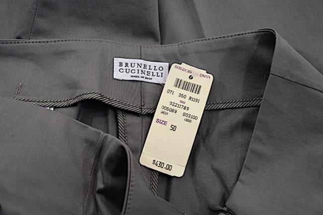 Brunello Cucinelli Stretch Sateen Straight Pants Army Green Image 4