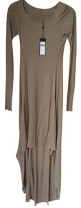 Khaki Maxi Dress by BCBGMAXAZRIA Long Back Wide Neck Drape Comfortable Longsleeve