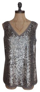 Talbots Date Night Sequin Evening Top SILVER