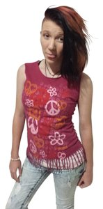 Mudd Peaceandlove Sleeveless Small T Shirt Pink