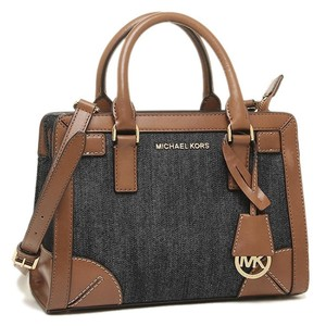 Michael Kors Leather Brown Blue Gold Satchel in Dark Denim