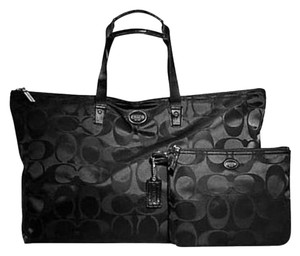 Coach Signature Packable Tote Getaway Nylon Weekender Black Travel Bag