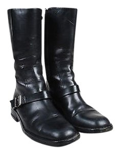 Gucci Leather Silver Black Boots