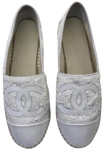 Chanel Espadrilles Leather New White Flats