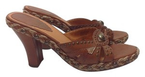Hilary Radley Brass Leather Cognac Sandals