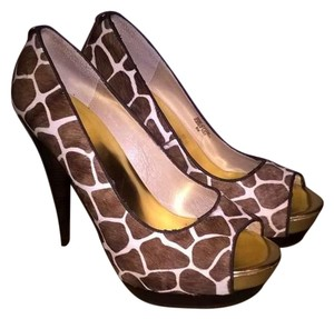 Michael Kors Brown/White/Gold Platforms