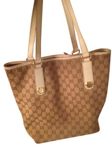 Gucci Gold Hardware Tote in Tan/Beige