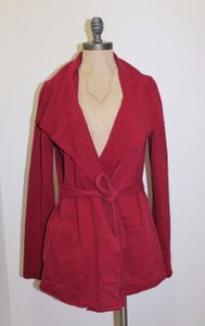 Lucky Brand Knit Sweater Coat Belted RED Jacket
