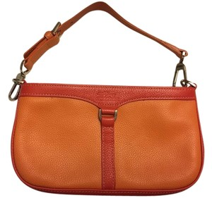 Longchamp Leather Bright Red Orange/Light Orange Clutch