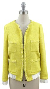 Zara Tweed Bomber Contrast Yellow Jacket