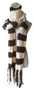 Abercrombie & Fitch SCARF HAT MITTENS cotton chunky Knit Striped SET lot