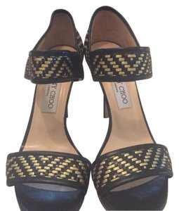 Jimmy Choo Black and gold weave Pumps