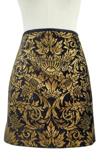 Zara Jacquard Mini Mini Skirt Black and Gold