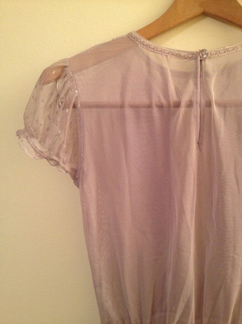 Lux Sheer Lace Peplum Top Lilac lavender purple