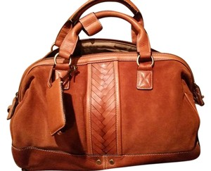 Cole Haan Suede Leather Vintage Satchel in Chestnut/Brown