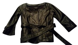 Theory Leather Belted Leather Leather Cropped Leather Black Jacket