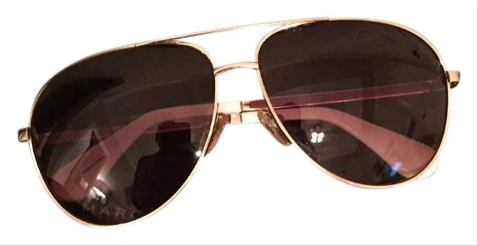 7e118315201d Marc by Marc Jacobs Brown Gold White Aviator Sunglasses - Tradesy