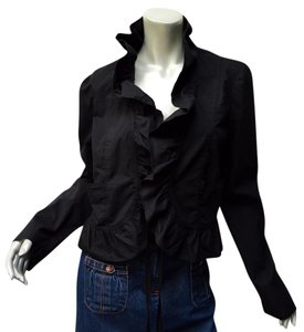 XCVI Cropped Ruffle Tie Front Black Jacket