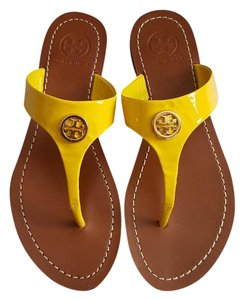Tory Burch Cameron Thong Patent Yellow Sandals