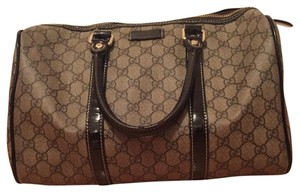 Gucci Satchel in Beige/ Black Patent