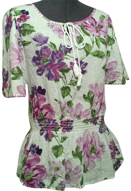 Preload https://item5.tradesy.com/images/bandolino-s-floral-cotton-cotton-top-lavender-pinks-1985604-0-0.jpg?width=400&height=650