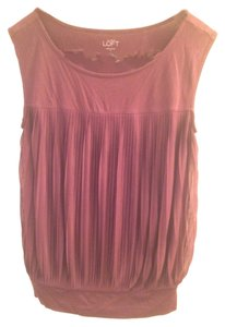 Ann Taylor LOFT Sheer Eggplant Pleat Pleated Top Eggplant/ Maroon