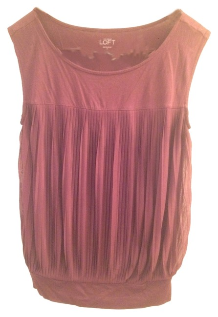 Ann Taylor LOFT Sheer Pleat Pleated Top Eggplant/ Maroon