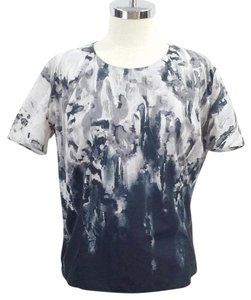 Marni Ombre Printed Greyscale Short Sleeve Watercolor Top Grey