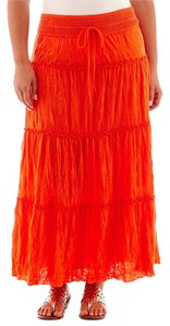St. John Bohemian Maxi Skirt Orange