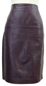 H&M Leather Oxblood Pencil Genuine Trend Skirt Oxblood Red