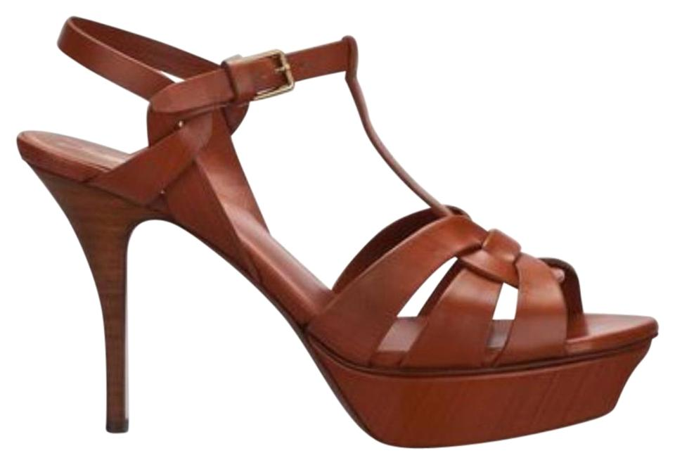 Saint Laurent Leather Brown Tribute Classic Amber Leather Laurent Sandals 32b333