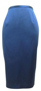 Kay Unger Silk Midnight Pencil Skirt Blue
