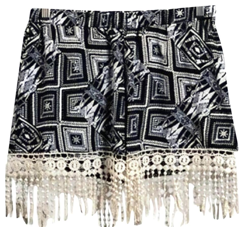 Black White Womens Tribal Crochet Lace Fringe Minishort Shorts