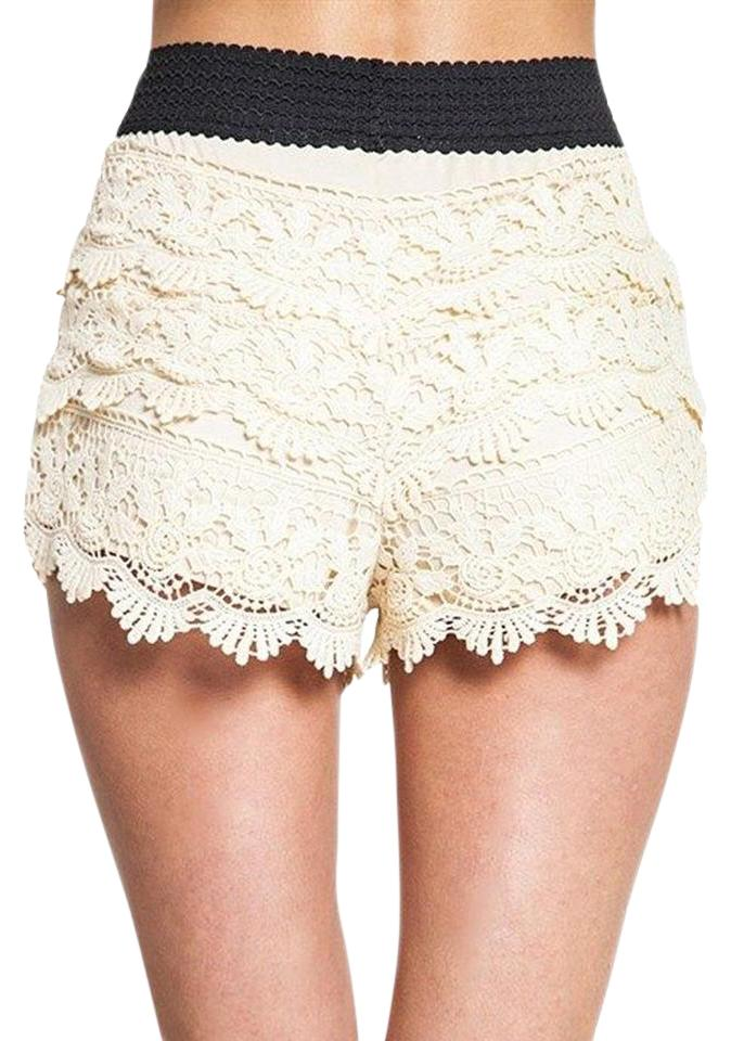 Entro Natural Womens Lined Stretchy Crochet Lace Fringe M Shorts