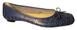a.n.a. a new approach Leather Ballet Perforated cobalt blue Flats
