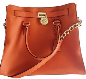 Michael Kors Saffiano Leather Orange Gold Hardware Tote in Mandarin Orange