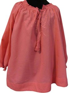 Izod Peasant Embroidery Salmon Coral Top pink