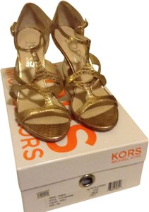 Michael Kors Strappy Metallic Gold Sandals