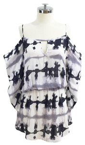 Young Fabulous & Broke short dress Lavender and black Blot Printed Cold Shoulder on Tradesy